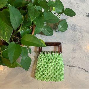 VTG Small Green & White Plastic Macrame Handbag